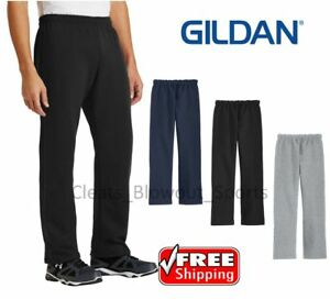 Gildan 18400 Men's Heavy Blend Open Bottom Sweatpants Retro Style Workout Pants