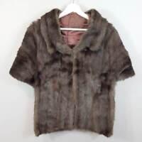 [ VINTAGE ] 1950's Genuine Mink Fur Cape / Stole Jacket | Size AU 10 or US 6