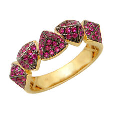 14K YELLOW GOLD RUBY SPIKE PYRAMID WEDDING BAND COCKTAIL STATEMENT RING
