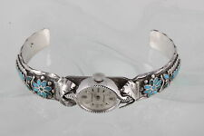 STERLING SILVER EMBOSSED TURQUOISE INLAID STONES CUFF WATCH BRACELET 925 3591