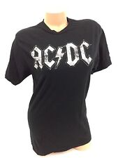AC/DC T-Shirt Big Logo Concert Tour Graphic Rock Cotton Tee Black White Size M
