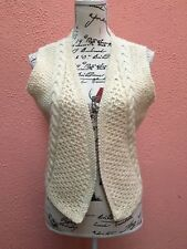 New Ladies Aran 12 Wool Waistcoat Gilet knit 40 White Cable Handmade 100% Hand