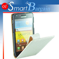 HQ WHITE Carbon Fibre Flip Leather Case Cover For Samsung Galaxy S2 i9100 + SP