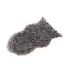 LUXURY THICK PILE SUPERSOFT MONGOLIAN FAUX FUR SUEDE RUG MAT GREY 60 X 90CM