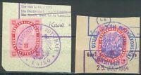 Lot mit 2 Briefstücken Österreichische Konsulatsstempelmarken Kairo,Düsseldorf