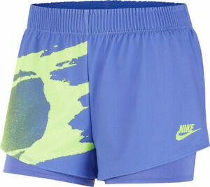 Womens Nike Court Slam Tennis Shorts Blue Size Medium CK8430-500