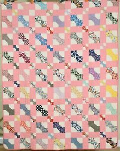 BEAUTIFUL Vintage 30's Bowties Antique Quilt ~UNUSUAL SMALL SCALE!