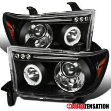 For 2007-2013 Toyota Tundra Black Clear Halo Projector Headlights LED DRL Strip