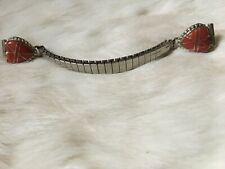 Native American Sterling Silver Red Spiney Heart Shape Inlay Watch Band, Signed