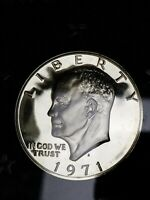 """1971 S 40% Silver Proof Eisenhower Dollar Ike """"BEAUTIFUL COIN"""" in original box"""