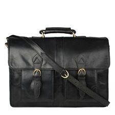 Hidesign Review Briefcase Messenger Leather Laptop Bag For Men For Travel- Black