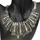 Tibetan Fashion Silver Gothic Pendant Metallic Bib Collar Statement Necklace