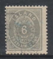Iceland - 1896/1900, 6a Grey stamp - Perf 12 1/2 - Used - SG 29 or 29a (c)