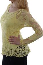 Maglie e camicie da donna gialli manica lunghi girocollo
