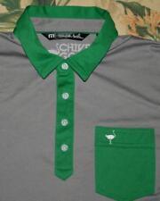 Mens TRAVIS MATHEW Green Grey The Chive Golf Polo Shirt Large L