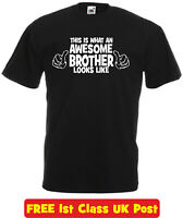 Funny T Shirt AWESOME BROTHER Novelty birthday xmas gift slogan tee kids mens
