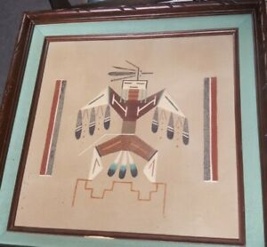 Native American Navajo Indian Sand Painting Framed  L. Begay