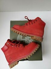 Pre Owned Timberlands Infants Toddler Kids Red Leather Hiking Boots Booties sz 9