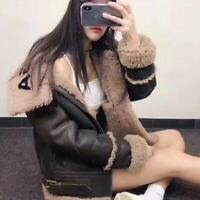womens leather warm fur collar coat jacket fur liner fleece jacket coat outwear