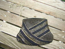 VINTAGE 1920 ' S STYLE BLACK GOLD BEADED BEADS CHAIN SHOULDER BAG CLUTCH PURSE