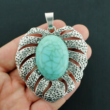 Palm Leaf Charm Antique Silver Tone Imitation Turquoise Stone - SC2375