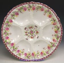 AUSTRIA CARLSBAD ROSES FLORAL OYSTER PLATE