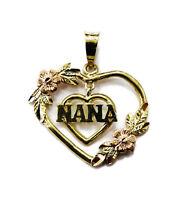 10k Yellow Gold Double Heart Nana Dangling Charm Necklace Pendant ~ 0.8g