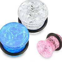 PAIR Cracked Glass Design Acrylic Single Flare Plugs Gauges Earlets Tunnels