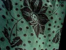 PIGSKIN SUEDE leather hide skin Dark Green W/Black Flocked Floral pattern