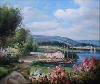 Quality Hand Painted Oil Painting Lakeside Cottage 20x24in