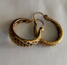 14K Solid Yellow Gold Hoop Earrings!! Unique Style