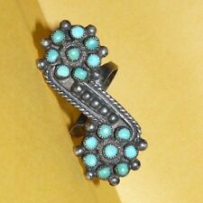 ~VTG~NATIVE~ZUNI~OLD~PAWN~STERLING~SILVER~w/ PETIT-POINT~TURQUOISE~RING~SIZE 8~