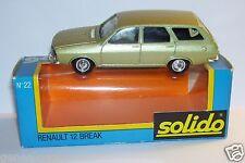 ORIGINAL RARE SOLIDO RENAULT 12 BREAK VERT CLAIR METAL 1975 REF 22 IN BOX
