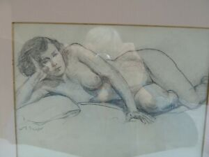 ORIGINAL Signed Pencil/Graphite Drawing Nude Reclining Woman Framed