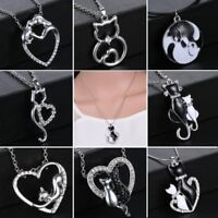 Fashion Silver Crystal Cute Animal Cat Chain Leather Pendant Necklace Women Gift