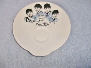 THE BEATLES OFFICIAL WASHINGTON POTTERY HANLEY ENGLAND WHITE BLUE SAUCER STAMPED