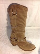 Next Brown Mid Calf Suede Boots Size 38