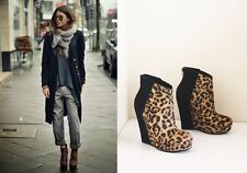 Anthro Shoes KELSI DAGGER HUETTE WEDGE BOOTIES Leopard Calf Hair Ankle Boots 7.5