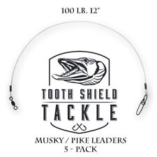 "QTY 5 100lb 12"" Musky Pike Fluorocarbon Fishing Leaders Stay-Lok Crane Swivel"