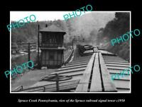 OLD LARGE HISTORIC PHOTO OF SPRUCE CREEK PENNSYLVANIA RAILROAD SIGNAL TOWER 1950