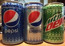 2018 Set 3 Christmas Snowflake Pepsi, Diet Pepsi & Mountain Dew 7.5 oz. Can Full