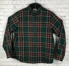 L.L. Bean Green Plaid Flannel Long Sleeve Button Front Shirt Men's Large