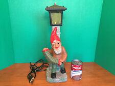 "RARE HEISSNER VTG German Gnome Working LAMP POST Figurine Ceramic 16.5"" REPAIRED"