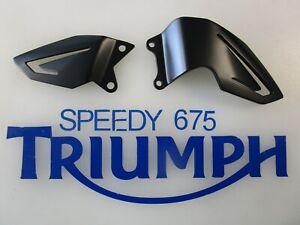 TRIUMPH DAYTONA 675  LEFT & RIGHT HEEL GUARDS BLACK FITS 2013 TO 17