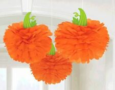 Halloween Fall Pumpkin 3 Hanging Fluffies Orange Party Decorations