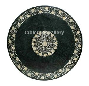 "36"" Green Marble Dining Table Top Mother of Pearl Floral Inlay Living Decor B612"