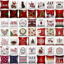 """17x17"""" PILLOW COVER Christmas Decorative Red White Xmas 2-Sided Bed Cushion Case"""