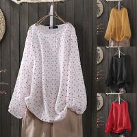 UK Womens Long Sleeve O Neck Polka Dot Tops Casual Loose Shirts Blouse Plus Size