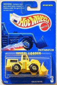 HOT WHEELS 1991 BLUE CARD WHEEL LOADER #3 YELLOW 09 W+