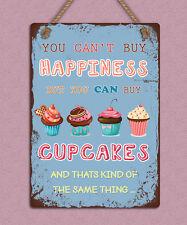Shabby Chic Estilo Metal Colgante signo la felicidad es Cupcakes Pared Puerta Placa De Regalo